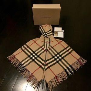 Authentic Burberry Pancho Hooded Zip Capelet Shawl
